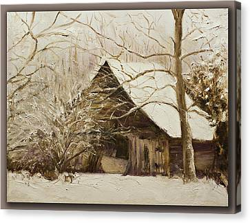 Barn In Snow Canvas Print