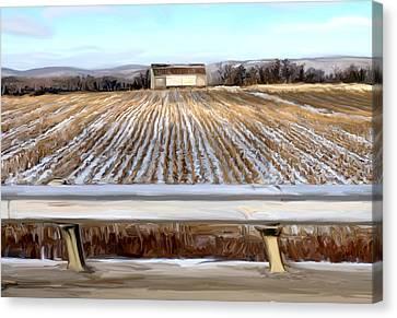 Cornfield Canvas Print - Barn In Snow by Mary Vollero