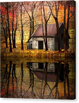Rivers In The Fall Canvas Print - Barn In The Woods by Debra and Dave Vanderlaan