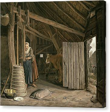 Barn Interior With A Maid Churning Butter Oil On Canvas Canvas Print by Govert Dircksz. Camphuysen