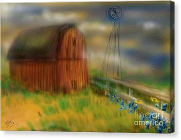 Canvas Print featuring the painting Barn by Marisela Mungia