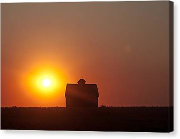 Canvas Print featuring the digital art Barn Meets Sunset by Dawn Romine