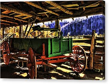 Canvas Print featuring the painting Barn by Muhie Kanawati