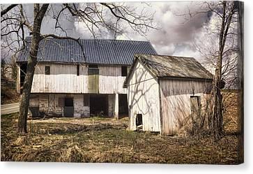 Barn Near Utica Mills Covered Bridge Canvas Print by Joan Carroll