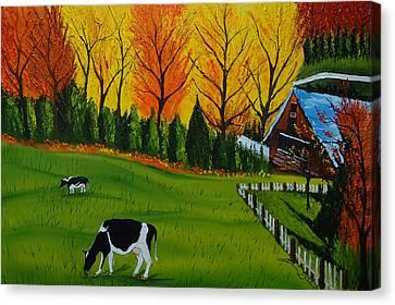 Barn Of Autumn 2 Canvas Print by Portland Art Creations