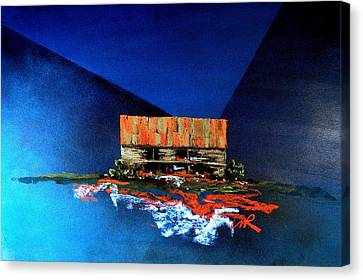 Barn On Blue Canvas Print by William Renzulli
