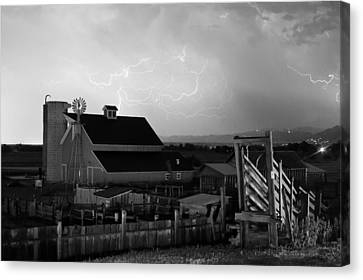 Cattle Run Canvas Print - Barn On The Farm And Lightning Thunderstorm Bw by James BO  Insogna