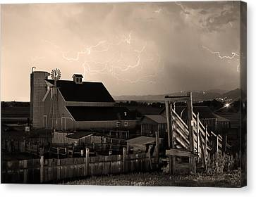 Cattle Run Canvas Print - Barn On The Farm And Lightning Thunderstorm Sepia by James BO  Insogna
