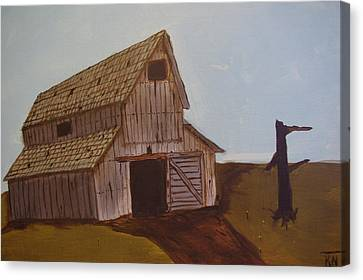 Barn On The Hill Canvas Print by Keith Nichols