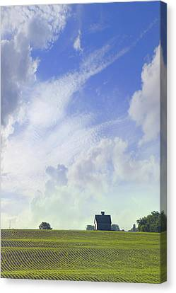 Field Of Crops Canvas Print - Barn On Top Of The Hill by Mike McGlothlen