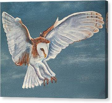 Canvas Print featuring the painting Barn Owl by Dan Wagner