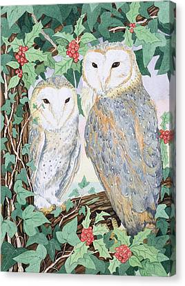 Woodlands Scene Canvas Print - Barn Owls by Suzanne Bailey