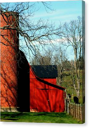 Barn Shadows Canvas Print by Karen Wiles