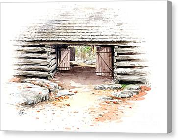 Canvas Print featuring the painting Barn Stalls by Bob  George