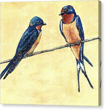 Barn-swallow Pair Canvas Print