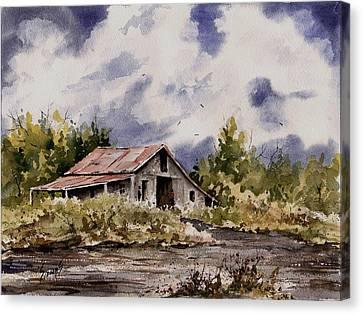 Barn Under Puffy Clouds Canvas Print