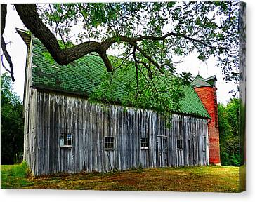 Barn With Brick Silo Canvas Print