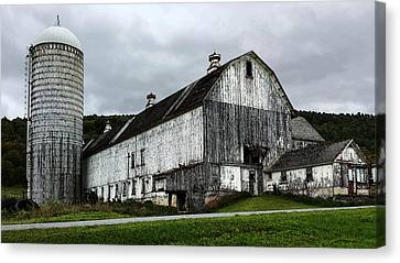 Barn With Silo Canvas Print by Michael Spano
