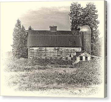 Barn With Silo Canvas Print