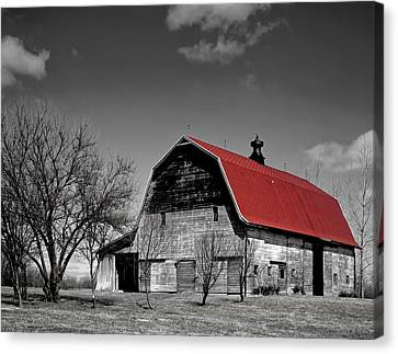 Barn With The Red Roof Canvas Print by Mountain Dreams