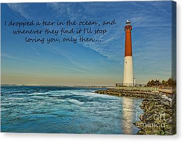 Barnegat Lighthouse Inspirational Quote Canvas Print by Lee Dos Santos