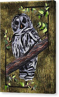 Canvas Print featuring the tapestry - textile Barney Whoo? by Jo Baner