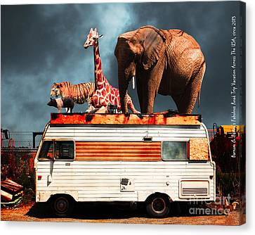 Barnum And Baileys Fabulous Road Trip Vacation Across The Usa Circa 2013 5d22705 With Text Canvas Print