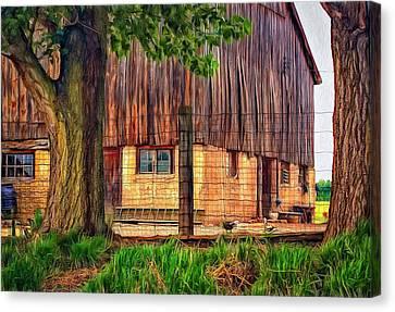 Rain Barrel Canvas Print - Barnyard 2 - Paint by Steve Harrington
