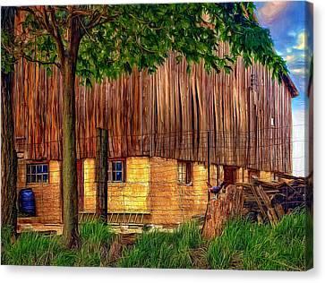 Rain Barrel Canvas Print - Barnyard - Paint by Steve Harrington