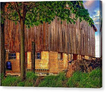 Rain Barrel Canvas Print - Barnyard by Steve Harrington