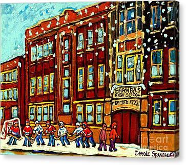 Baron Byng High School St Urbain Street Hockey Montreal Winter Scene Carole Spandau Montreal Artist Canvas Print by Carole Spandau
