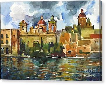 Baroque Domes And Baroque Skies Of Vittoriosa In Malta Canvas Print by Anna Lobovikov-Katz