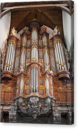 Baroque Grand Organ In Oude Kerk In Amsterdam Canvas Print by Artur Bogacki