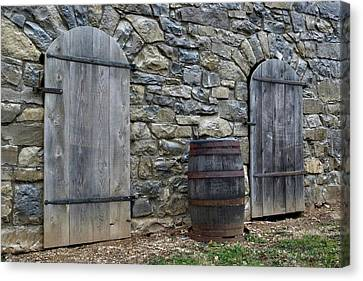 Canvas Print featuring the photograph Barrel And Barn Doors by Gene Walls