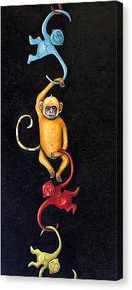 Barrel Of Monkeys Canvas Print by Leah Saulnier The Painting Maniac