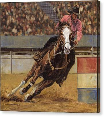 Barrel Racer Canvas Print by Don  Langeneckert