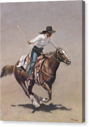 Barrel Racer Salinas Rodeo Canvas Print by Terry Guyer