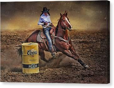 Barrel-rider Cowgirl Canvas Print by Barbara Manis