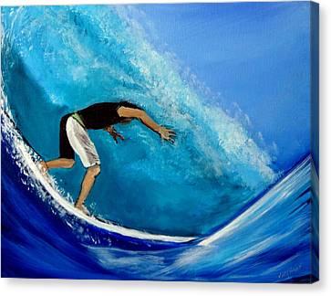 Barrel Surfer Ocean Wave Canvas Print