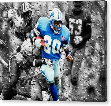 Barry Sanders Breaking Out Canvas Print