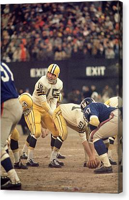 Football Canvas Print - Bart Starr Calls Out The Snap by Retro Images Archive