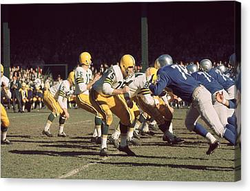 Football Canvas Print - Bart Starr Drops Back by Retro Images Archive