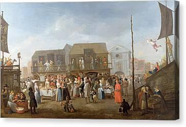 Bartholomew Fair Oil On Canvas Canvas Print by Egbert van Heemskerck