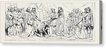 Bas-relief In The Princes Chamber House Of Lords Queen Canvas Print by English School