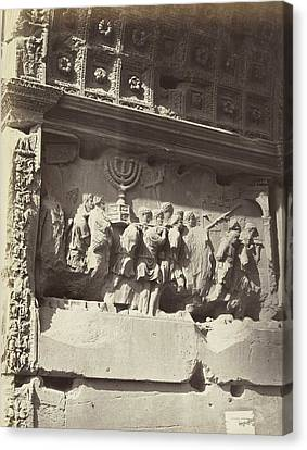 Bas Relief On The Arch Of Titus In The Roman Forum In Rome Canvas Print by Artokoloro