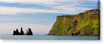 Basalt Rock Formations In The Sea, Vik Canvas Print by Panoramic Images