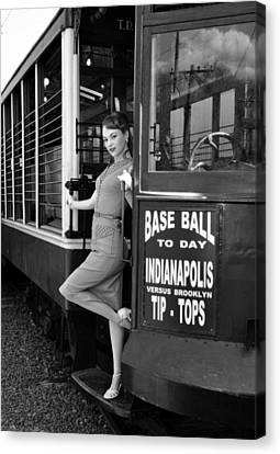 Canvas Print featuring the photograph Base Ball To Day Bw Version by Jim Poulos
