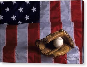 Baseball And American Flag Canvas Print