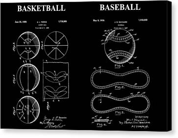 Baseball And Basketball Patent Canvas Print by Dan Sproul