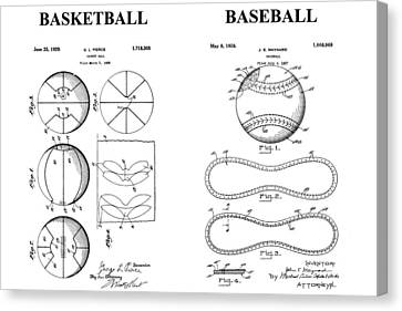 Baseball And Basketball Patent Drawing Canvas Print